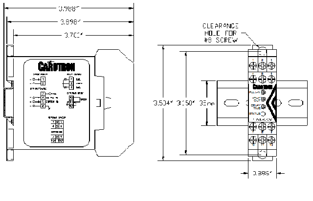 Dimensions for Current Sensing Relay